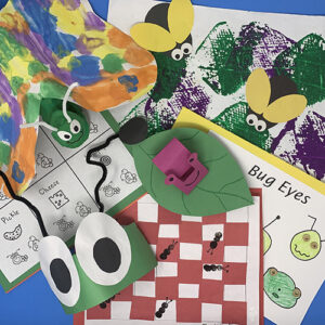 Creepy crawlies units compiled together showing an ant hat, a slug on a leaf, ants on a table, a caterpillar painting, and various worksheets