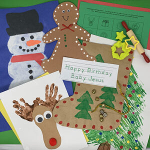 Christmas projects compilation showing a gingerbread cutout, a reindeer painting, a stocking cut out, a snow man art project, and various worksheets