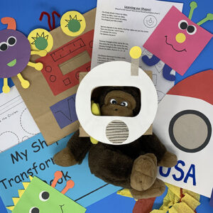 Exploring space and shapes projects compiled together, showing a monkey with a helmet, various paper space aliens, and worksheets