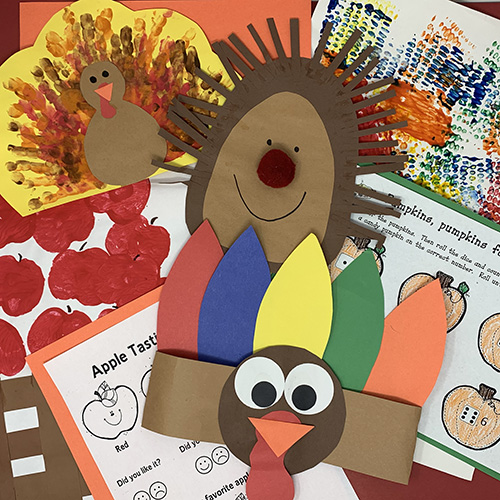 Give Thanks projects compiled together, showing a turkey hat, a turkey painting, a hedgehog art piece, and various worksheets