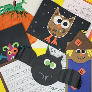 Fall Fun projects compiled together showing, a bat art piece, an owl piece, a paper bag scarecrow, and various worksheets