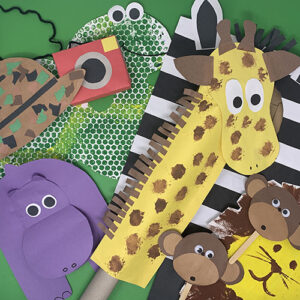 Wild Animals projects compiled together showing a giraffe, a hippo, a snake painting, monkeys, and a safari hat