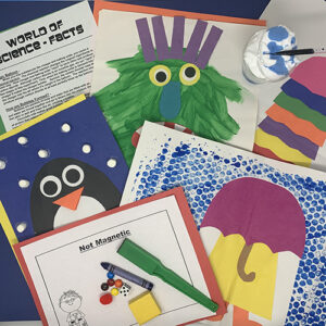 World of science projects compiled together showing an umbrella in the rain painting, a penguin, a fun monster, and various worksheets