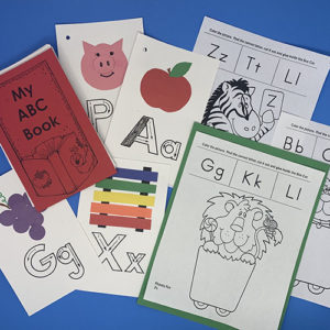 Several fun project pages depicting animals and letters for My ABC Book
