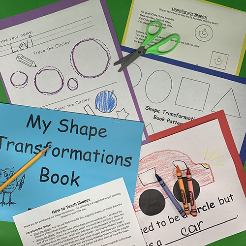 Worksheets showing shapes and fun drawings for My Shape Transformation Book