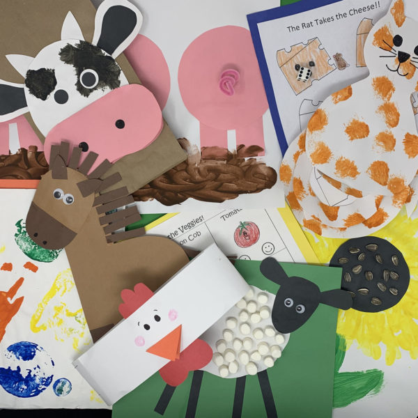 Down On The Farm learning block showing fun crafts depicting farm animals, and worksheets